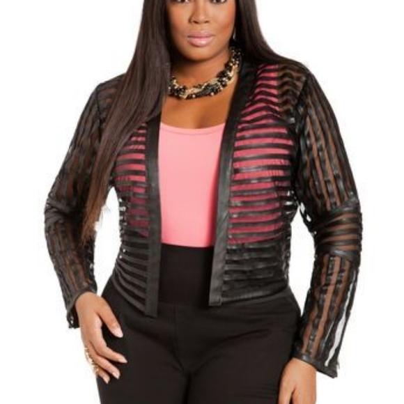 098e2b65159 Ashley Stewart Jackets   Blazers - Ashley Stewart Striped Faux Leather  Sheer Jacket