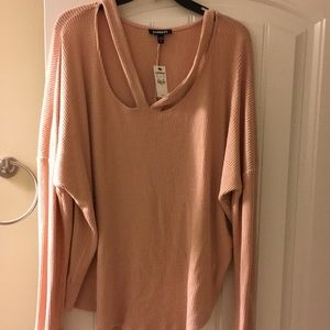 Express Tops - Express Ribbed Double Slash Neck Tunic Top