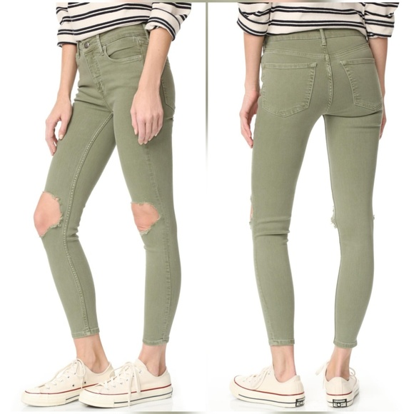 de56f77d9 Free People Jeans | Busted Knee High Rise Skinny Jean Moss | Poshmark