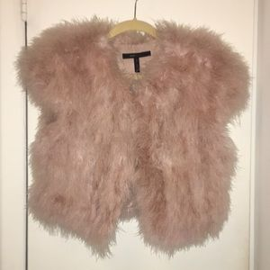 BCBGMAXAZRIA Pink Feather Vest