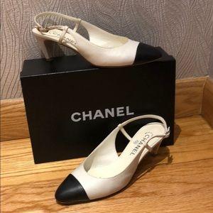 Chanel dark white and black slings