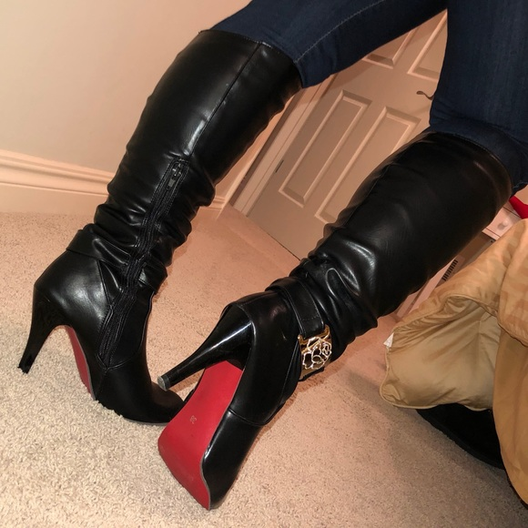 2eb16e17269 Black High Heel Boots w/ Red Bottom - Sz 7.5