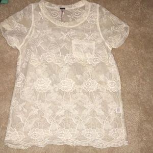 Lace mesh T-shirt