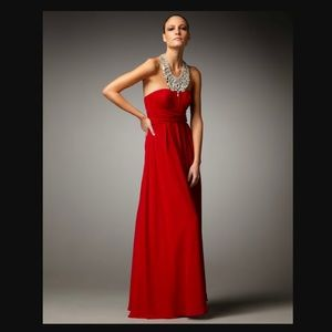 Aidan Mattox Red Beaded Neck Gown