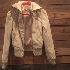 Faux White Leather Jacket with Detachable Hood