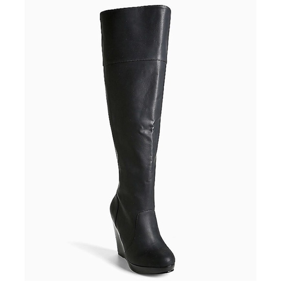 141e62cacde Torrid Wide Width Black Over The Knee Wedge Boots