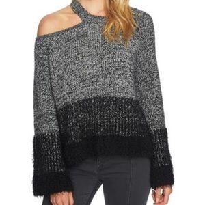 Fuzzy open shoulder sweater