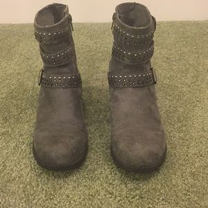 Girl's Jeweled, Grey, Suede, Ankle boots size 6