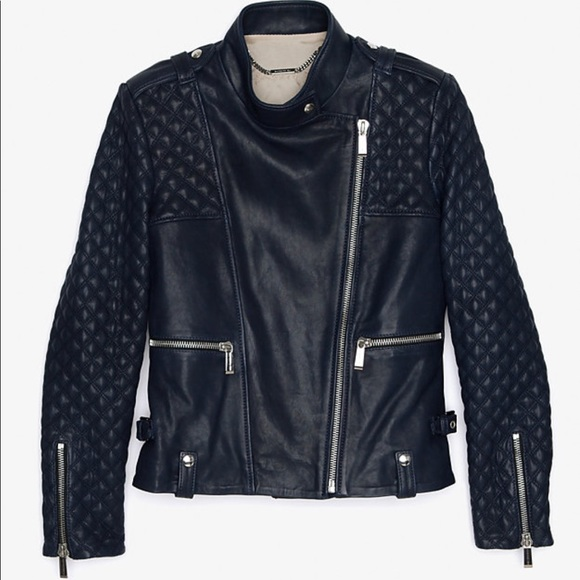 Barbara Bui Jackets Coats Quilted Sleeve Leather Jacket Poshmark