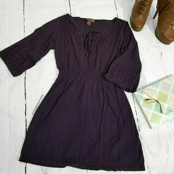Hooked Up by IOT Dresses & Skirts - Wide sleeve purple knit tunic