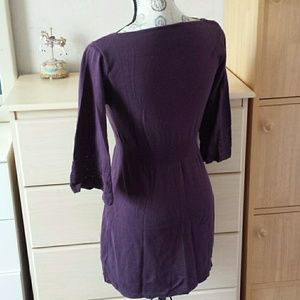 Hooked Up by IOT Dresses - Wide sleeve purple knit tunic