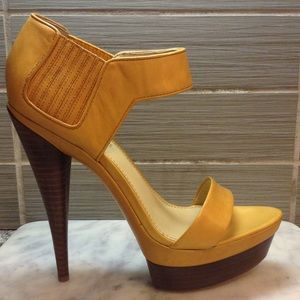 Rachel Zoe yellow platform heels Beverly Vachetta