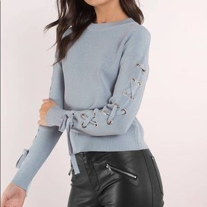Tobi Blue Lace Up Sleeve Knit Top