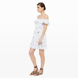 Club Monaco Adeva Off Shoulder Printed Silk Dress
