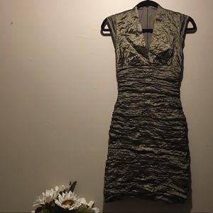 NICOLE MILLER Ruched Bronze Olive Dress Size 2P