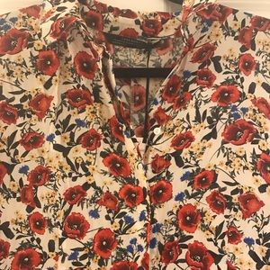 NWT Zara floral maxi shirt dress