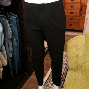 Forever 21 Black Pleated Dressy Zip Ankle Pants M