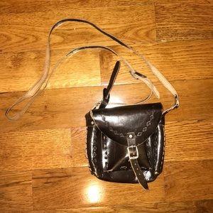 Topshop Brown Leather Mini Crossbody Bag