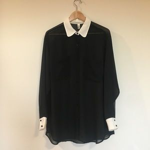 American Apparel sheer button up blouse