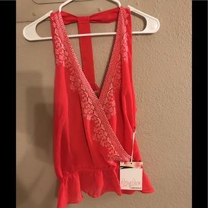 Girl's Coral Halter Top