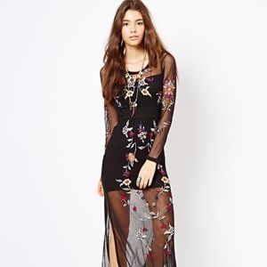 Free People Peonies mesh embroidered maxi dress L