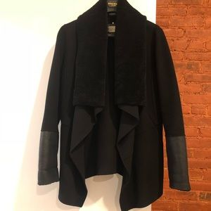 Mackage Black Shearling Wool Coat