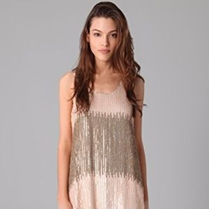 Parker sequin gold and pink mini dress Medium NYE!