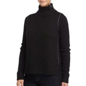 Vince Cashmere Mock-Neck Sweater with Zip Detail