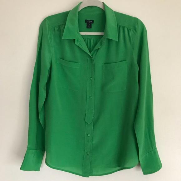 0f8c8b34 J. Crew Tops | J Crew Emerald Green Silk Blouse | Poshmark