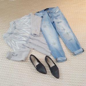 J Brand Distressed Cropped Boyfriend Jeans