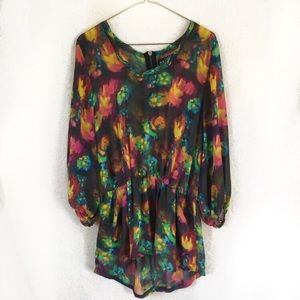 Tops - Black Neon Watercolor Sheer Tunic Top