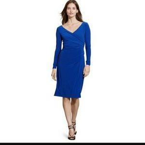 Ralph Lauren Surplice V-neck Rushed Jersey Dress