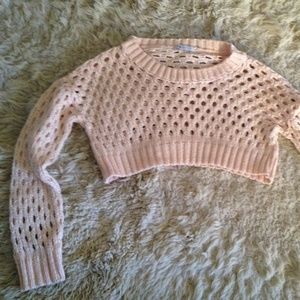 Sweaters - PEACH Crop Top See Through Sweater