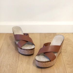 Neiman Marcus brown leather sandal