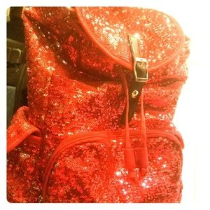 RED sequins bag pack