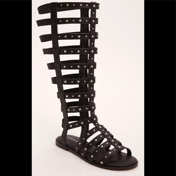 58dede9172e Studded Knee-High Gladiator Sandals Wide Width 8W