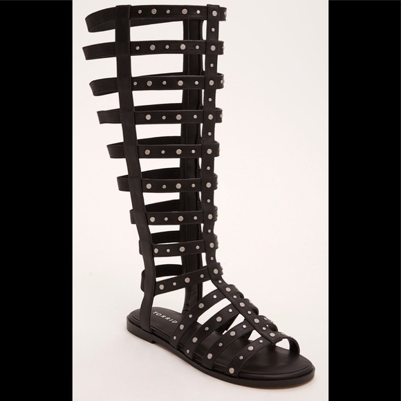 05725fbdbc7a Studded Knee-High Gladiator Sandals Wide Width 8W