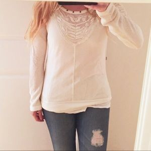 [Free People] Lacey Sleeve V Neck Sweater