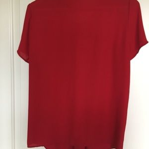 RW & Co Tops - RW&Co red blouse with buttons and bow details Lg