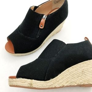 Comfortview Shoes - Comfortview Black Canvas Espadrille, Bootie Wedges