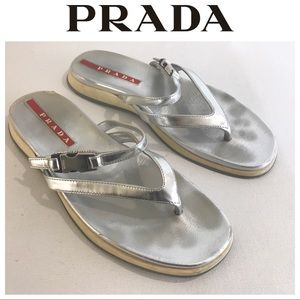 PRADA silver  Sandals logo flat 37 7 Leather auth