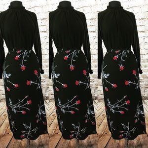 Red rose long skirt