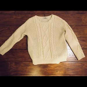 Romwe Chunky Cable Cream Sweater