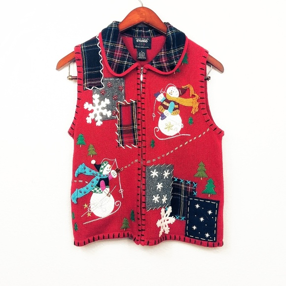 Christmas Vest.Tacky Christmas Sweater Snowman Vest