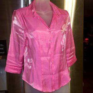 Vivid Bubblegum Pink Cropped 80's Mandee Blouse