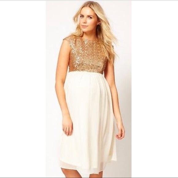 ce04650c38e ASOS Maternity Dresses   Skirts - ASOS Maternity Gold Sequin Skater Dress