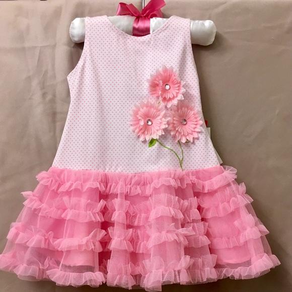 3756b3bd15 Kate Mack - Pink Dottie Daisy Dress