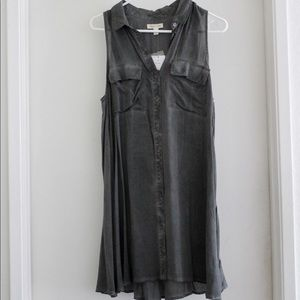 Silence + Noise Grey Button Dress