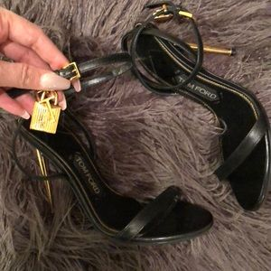 Black Tom Ford Sandals with gold Key Lock - Sz 36