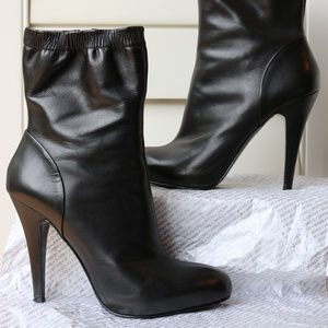 ZARA High Heels Black 7.5 M or 38 Leather Boots